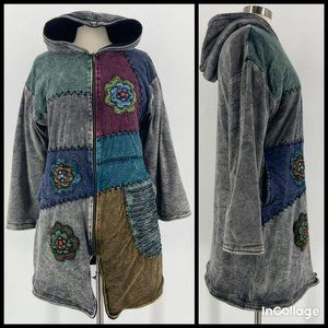 Sacred Threads Patchwork Hooded Thick Jacket L/XL